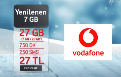 Vodafone Faturasıza Geçiş Tarifesi 27 TL ve 20 Gb Hediye