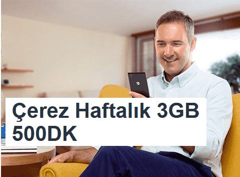 Turkcell Çerez Haftalık 3GB 500DK Ek Paket 20 TL