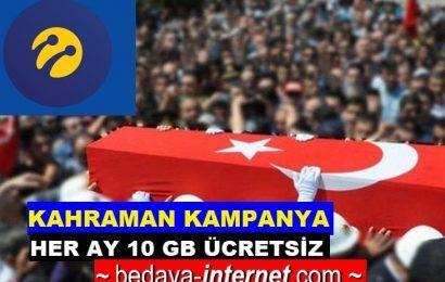 Turkcell Şehit ve Gazi Her Ay Ücretsiz 10 GB