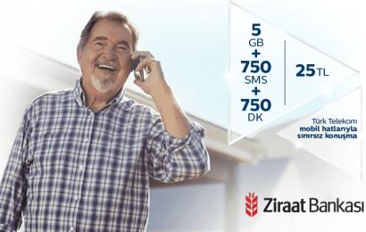 Emeklilere Özel Tarife 750DK ve 5GB İnternet 25 TL