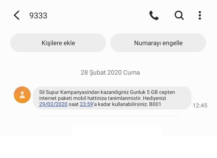 Sil Süpür 9333 bilgilendirme mesajı