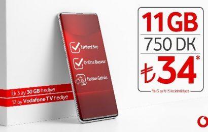 Vodafone Devreden Uyumlu 11GB Paketi 34 TL